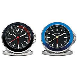 Bulova Compact Quartz Travel Alarm Clock with Luminescent Hands