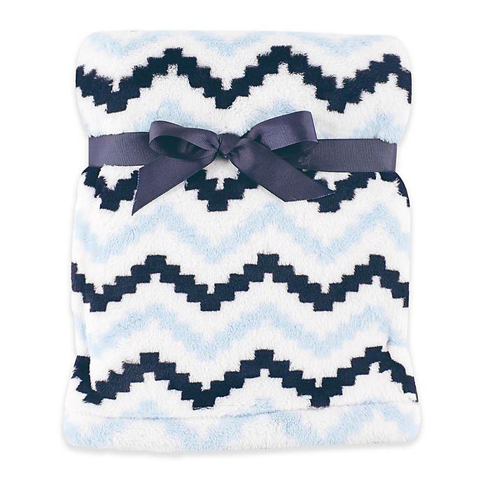 Alternate image 1 for Hudson Baby® Chevron Super Plush Blanket in Blue