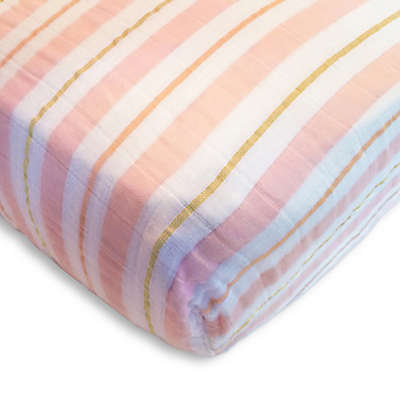 SwaddleDesigns® 3-Color Stripe Muslin Fitted Crib Sheet