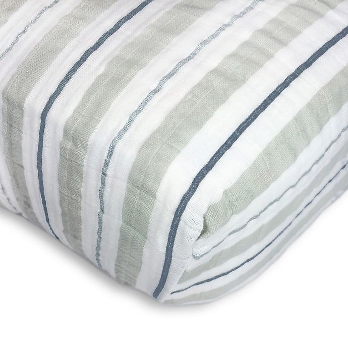 Alternate image 1 for SwaddleDesigns® 3-Color Stripe Muslin Fitted Crib Sheet