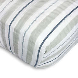 SwaddleDesigns® 3-Color Stripe Muslin Fitted Crib Sheet in Sterling