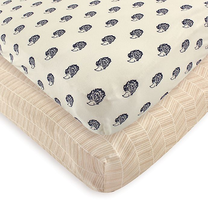 Alternate image 1 for Touched by Nature 2-Pack Hedgehog Organic Cotton Fitted Crib Sheets
