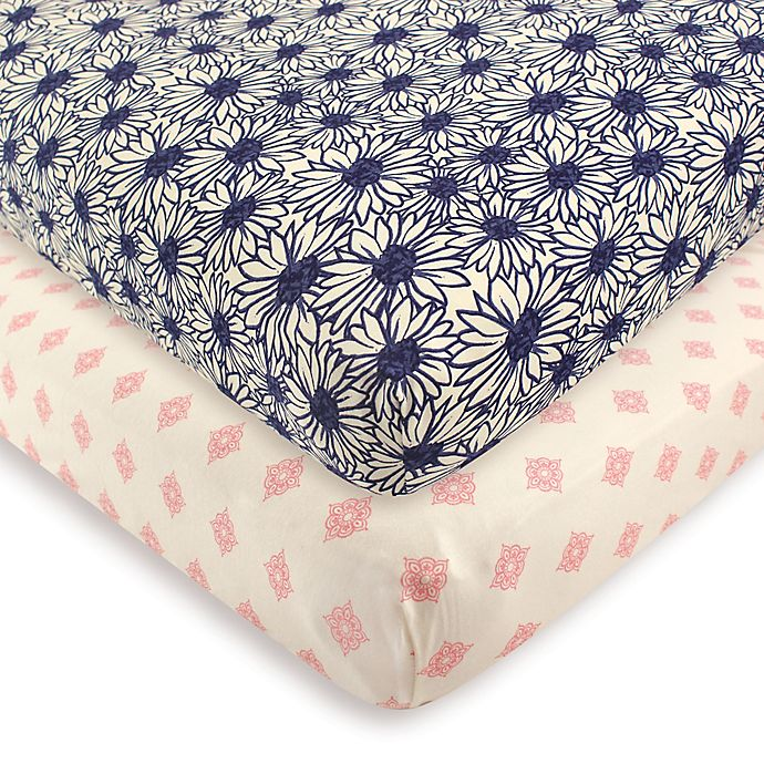 Alternate image 1 for Touched by Nature 2-Pack Daisy Organic Cotton Fitted Crib Sheets