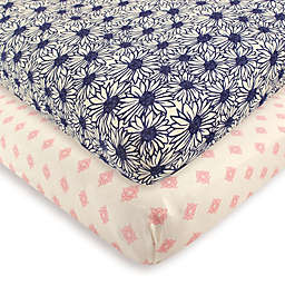 Touched by Nature 2-Pack Daisy Organic Cotton Fitted Crib Sheets