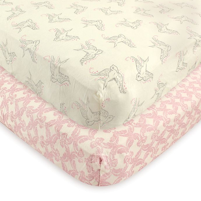 Alternate image 1 for Touched by Nature 2-Pack Bird Organic Cotton Fitted Crib Sheets