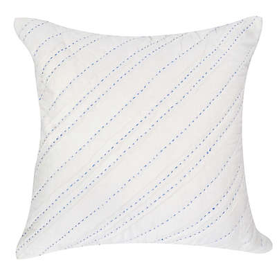 Hello Spud Diagonal Pintuck Throw Pillow in White/Blue