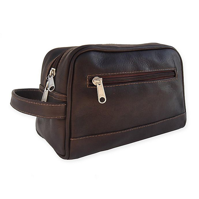 Alternate image 1 for Piel® Leather 9.5-Inch Top Zip Toiletry Kit in Chocolate