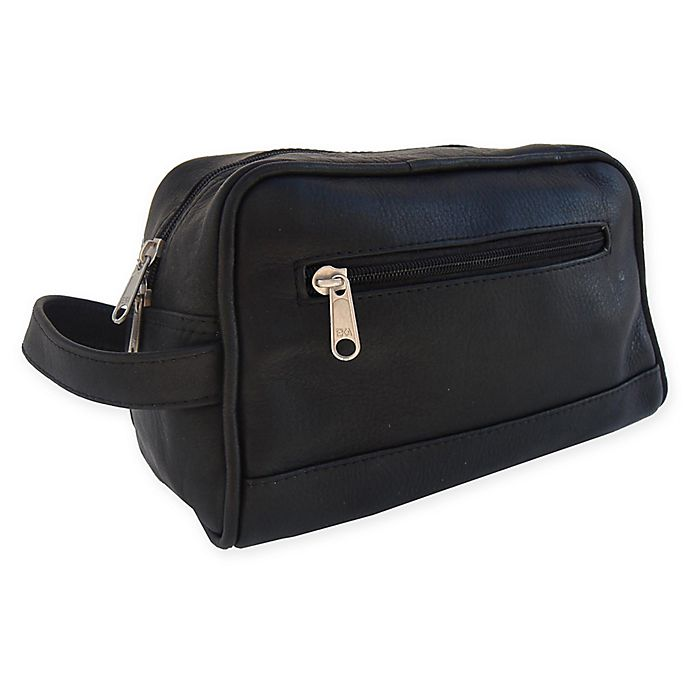 Alternate image 1 for Piel® Leather 9.5-Inch Top Zip Toiletry Kit in Black