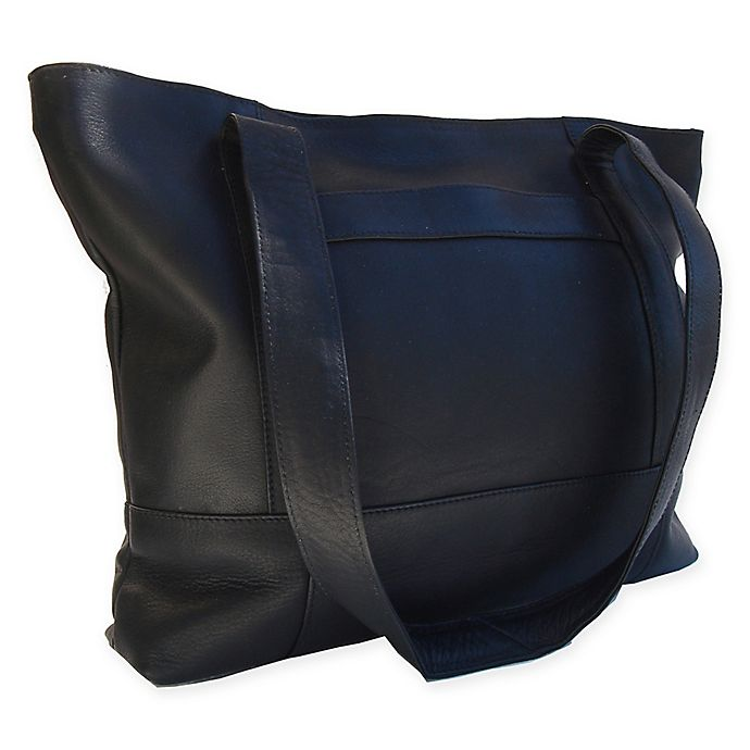 Alternate image 1 for Piel® Leather Top-Zip Tote in Black