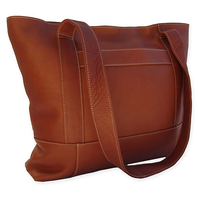 Alternate image 1 for Piel® Leather Top-Zip Tote in Saddle