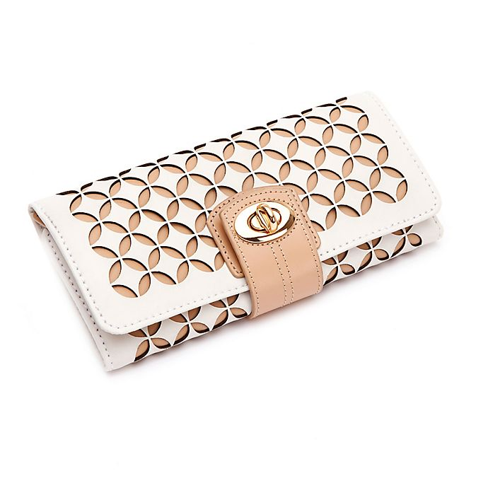 Alternate image 1 for Wolf Designs Chloe Leather Jewelry Roll in Cream