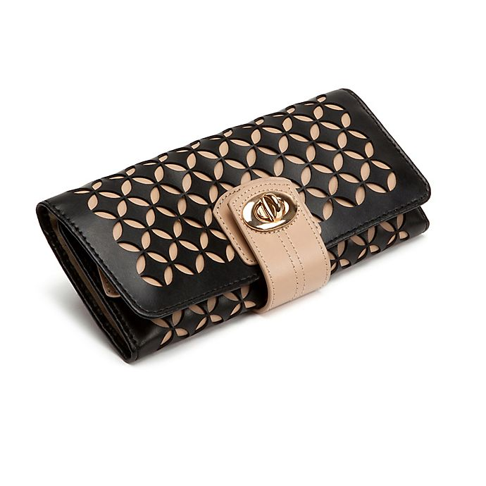 Alternate image 1 for Wolf Designs Chloe Leather Jewelry Roll in Black