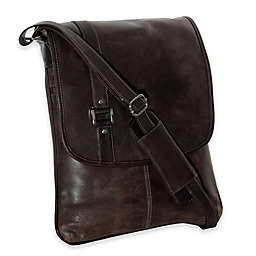 Piel® Leather Laptop Vertical Slim Messenger in Vintage Brown
