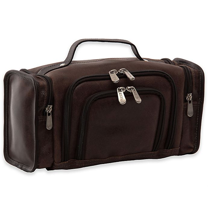 Alternate image 1 for Piel® Leather 12-Inch Multi-Compartment Toiletry Kit in Vintage Brown