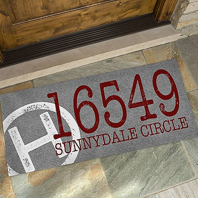Alternate image 1 for Initial Stamped Address 24-Inch x 48-Inch Oversized Doormat