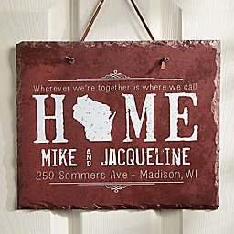 State of Love 11.5-Inch x 9.5-Inch Personalized Slate Plaque