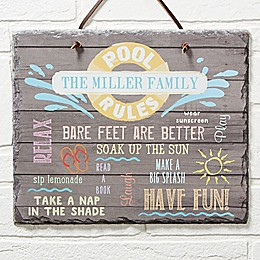 Water Rules Personalized Slate Plaque