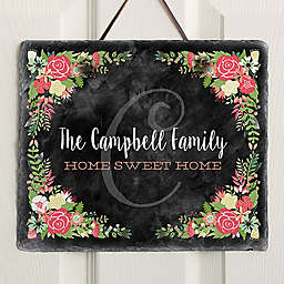 Posh Floral Welcome Slate Plaque