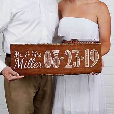 Our Wedding Date Basswood Plank Sign