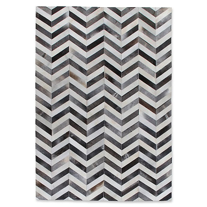Alternate image 1 for Exquisite Rugs Natural Hide Chevron 8-Foot x 11-Foot Area Rug in Grey/White