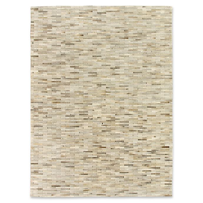 Alternate image 1 for Exquisite Rugs Natural Hide Stitched 5-Foot x 8-Foot Area Rug in Silver