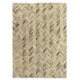 Exquisite Rugs Natural Hide Stitched Chevron Rug