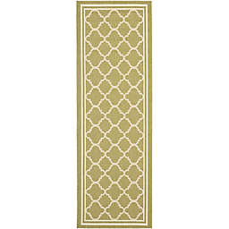 Safavieh Trellis 2-Foot 3-Inch x 22-Foot  Indoor/Outdoor Runner in Green/Beige