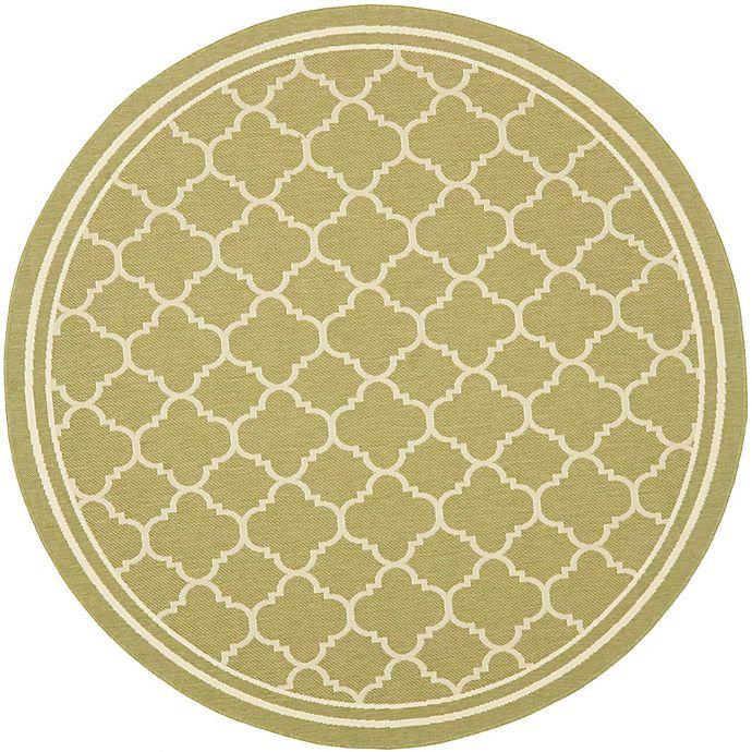 Alternate image 1 for Safavieh Trellis 7-Foot 10-Inch Round Indoor/Outdoor Area Rug in Green/Beige