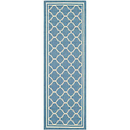 Safavieh Courtyard Trellis 2-Foot 3-Inch x 14-Foot Indoor/Outdoor Runner in Blue/Beige
