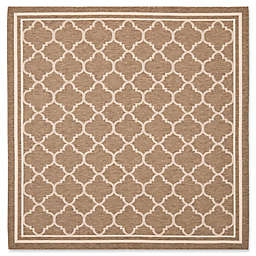 Safavieh Courtyard Trellis 4-Foot  Square Indoor/Outdoor Accent Rug in Brown/White