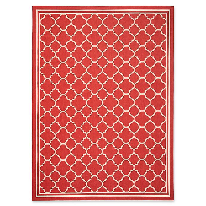 Alternate image 1 for Safavieh Courtyard Trellis 8-Foot x 11-Foot Indoor/Outdoor Area Rug in Red/White