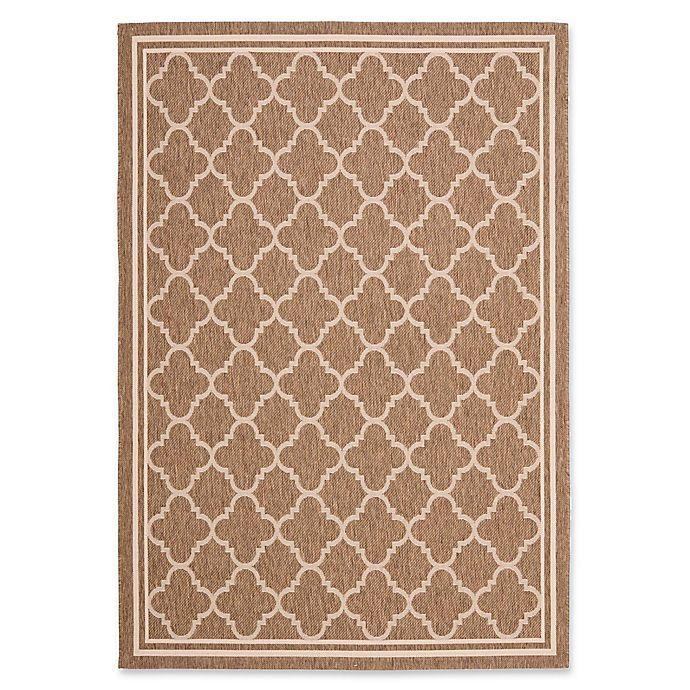 Alternate image 1 for Safavieh Courtyard Trellis 9-Foot x 12-Foot Indoor/Outdoor Area Rug in Brown/White