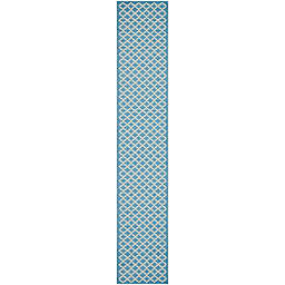 Safavieh Courtyard 2-Foot 3-Inch x 22-Foot Indoor/Outdoor Runner in Blue/Beige