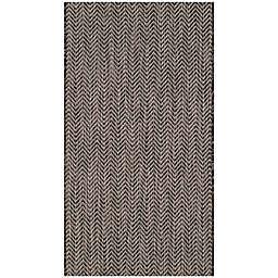 Safavieh Courtyard Chevron 2-Foot x 3-Foot 7-Inch Indoor/Outdoor Accent Rug in Black/Beige
