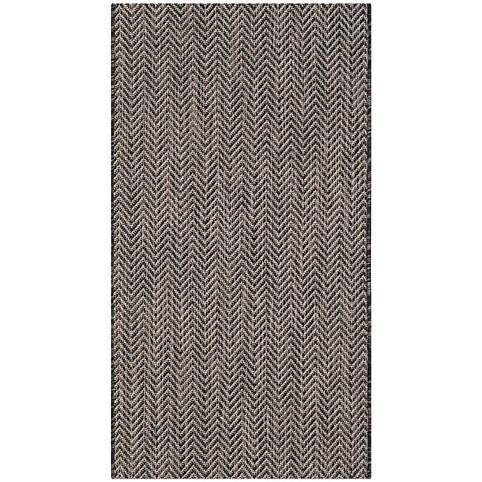 Alternate image 1 for Safavieh Courtyard Chevron 2-Foot 7-Inch x 5-Foot Indoor/Outdoor Area Rug in Black/Beige