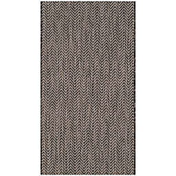 Safavieh Courtyard Chevron 2-Foot 7-Inch x 5-Foot Indoor/Outdoor Area Rug in Black/Beige