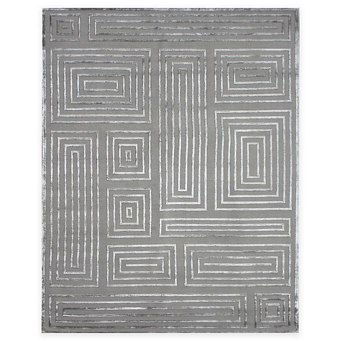 Alternate image 1 for Exquisite Rugs Metro Velvet Maze 8-Foot x 10-Foot Area Rug in Charcoal