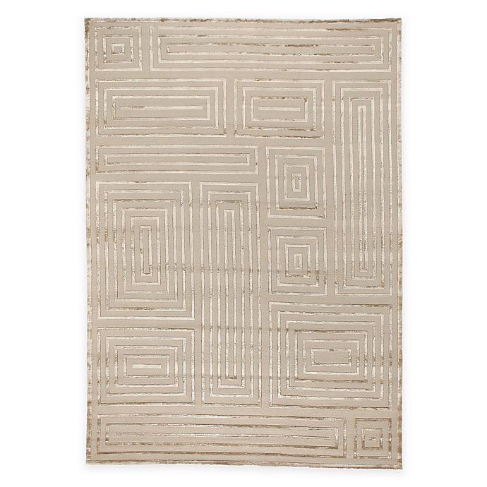 Alternate image 1 for Exquisite Rugs Metro Velvet Geometric Square 4-Foto x 6-Foot Area Rug in Beige