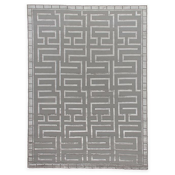 Alternate image 1 for Exquisite Rugs Metro Velvet Bracket 8-Foot x 10-Foot Area Rug in Silver