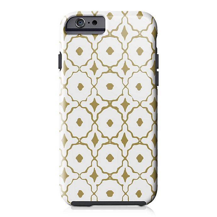 Alternate image 1 for Designs Direct Moroccan Tile Tough Case for iPhone 6/6S in White/Gold