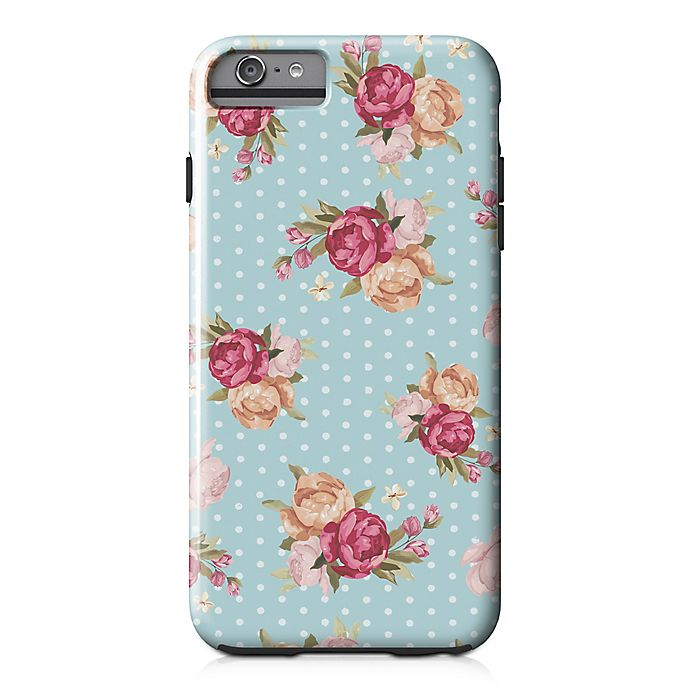 Alternate image 1 for Designs Direct Floral Dot Pattern Tough Case for iPhone 6 Plus in Blue