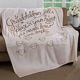 """Grandchildren Fill Our Hearts"" 50-Inch x 60-Inch Fleece Throw Blanket"