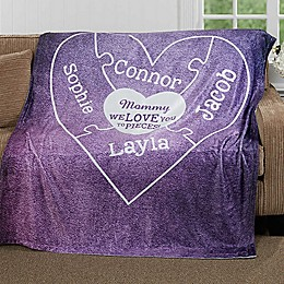 """We Love you to Pieces"" Fleece Throw Blanket"