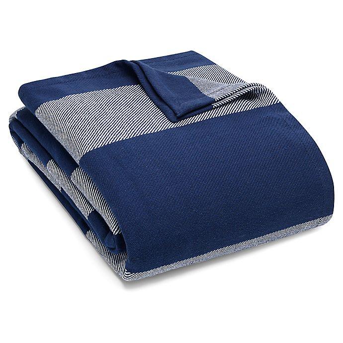 Alternate image 1 for Eddie Bauer® Boylston Stripe Twin Blanket in Navy