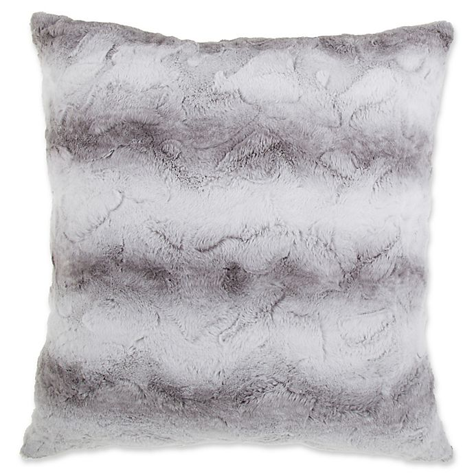 Alternate image 1 for Striped Faux Fur 26-Inch Square Throw Pillow in Grey