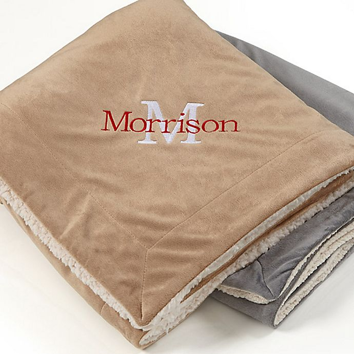 Alternate image 1 for Initially Yours Embroidered Sherpa Throw Blanket