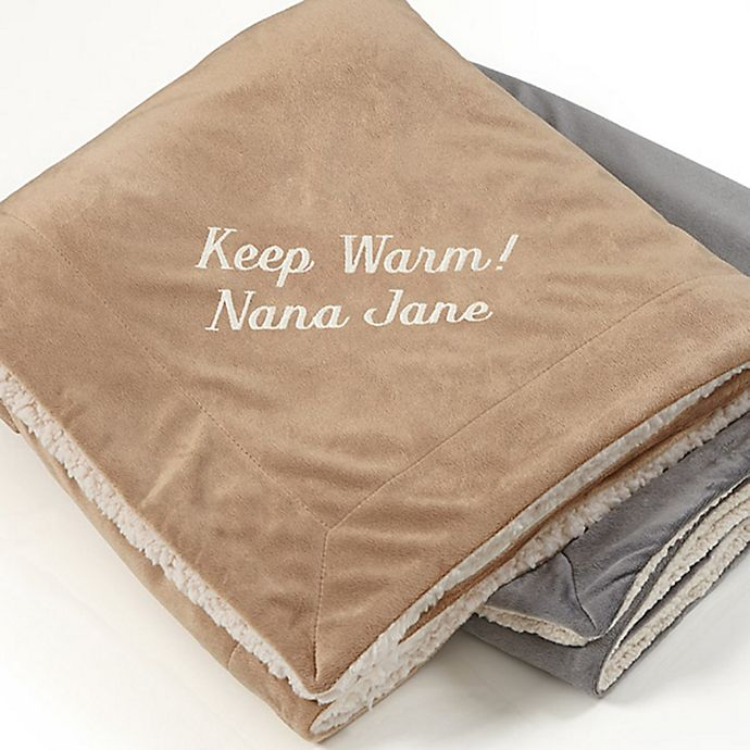 Alternate image 1 for You Name it! Embroidered Sherpa Throw Blanket