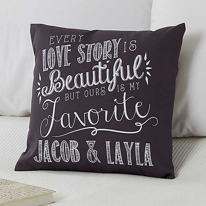 Alternate image 1 for Love Quotes Keepsake 18-Inch Square Throw Pillow
