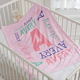 Repeating Name Fleece Baby Throw Blanket