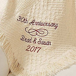 Happy Anniversary Embroidered Afghan